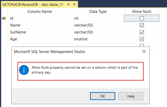 Primary key columns do not allow to null values