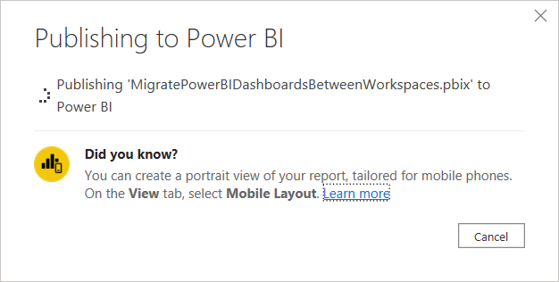 Publishing the report to the Power BI Service