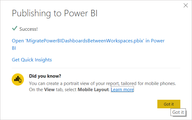 Publishing to the Power BI Desktop successful