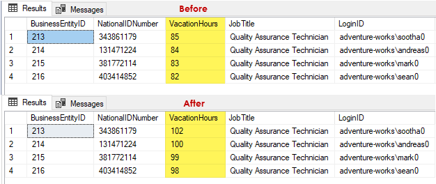 Results grid showing before and after values of the Vacation Hours column