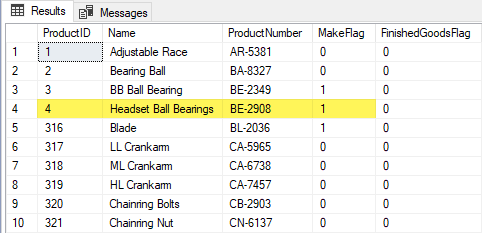Results grid with highlighted Headset Ball Bearings product and its Make Flag value