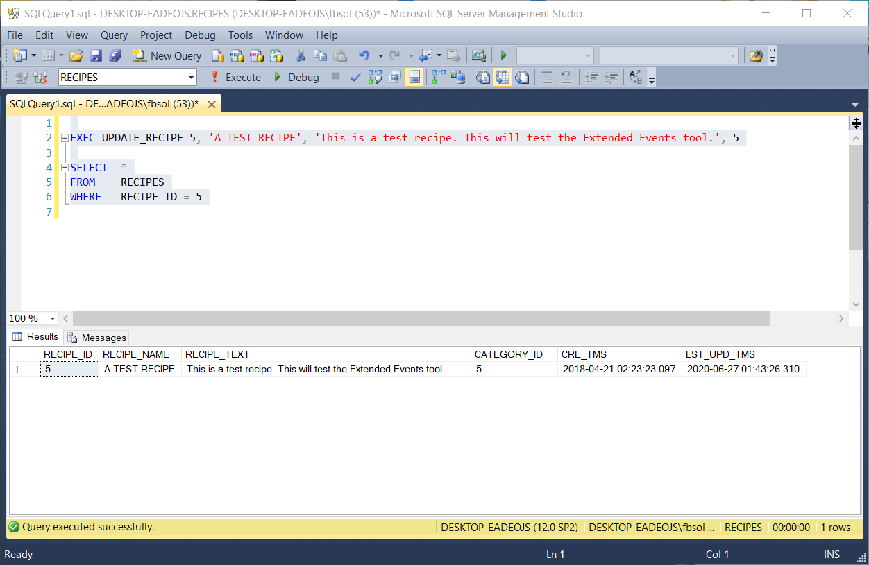 Run a stored procedure to directly change the recipe text in the database.