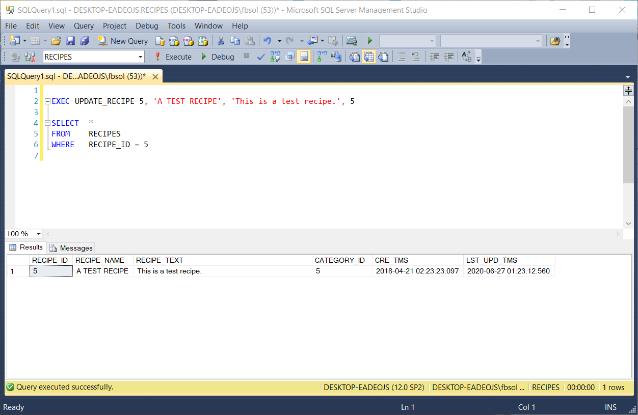 Run a stored procedure to investigate a detected bug.