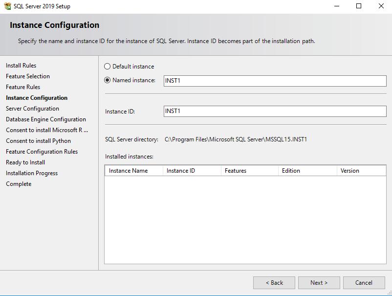 Specify a SQL instance