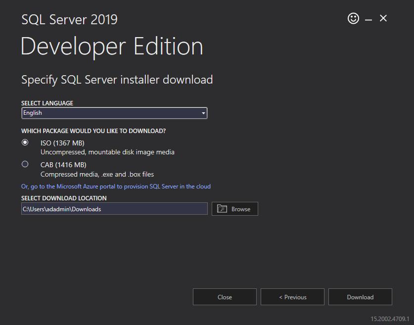 Specify SQL Server installer download
