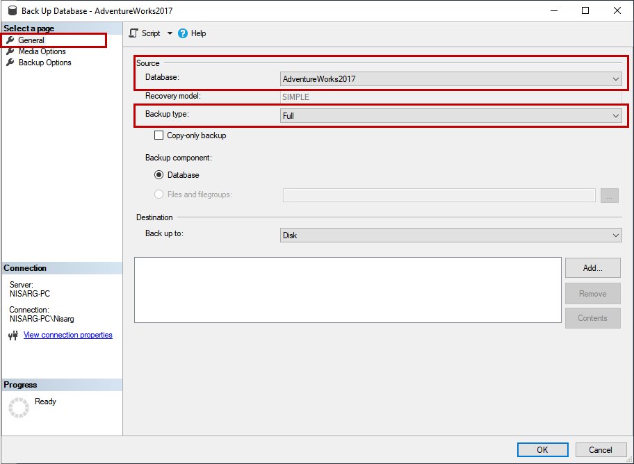 SSMS 2016 Backup Database dialog box