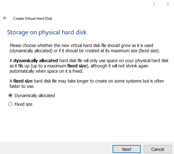 Storage on physical disk