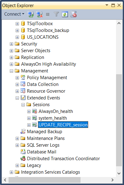 The Object Explorer, showing the available sessions.