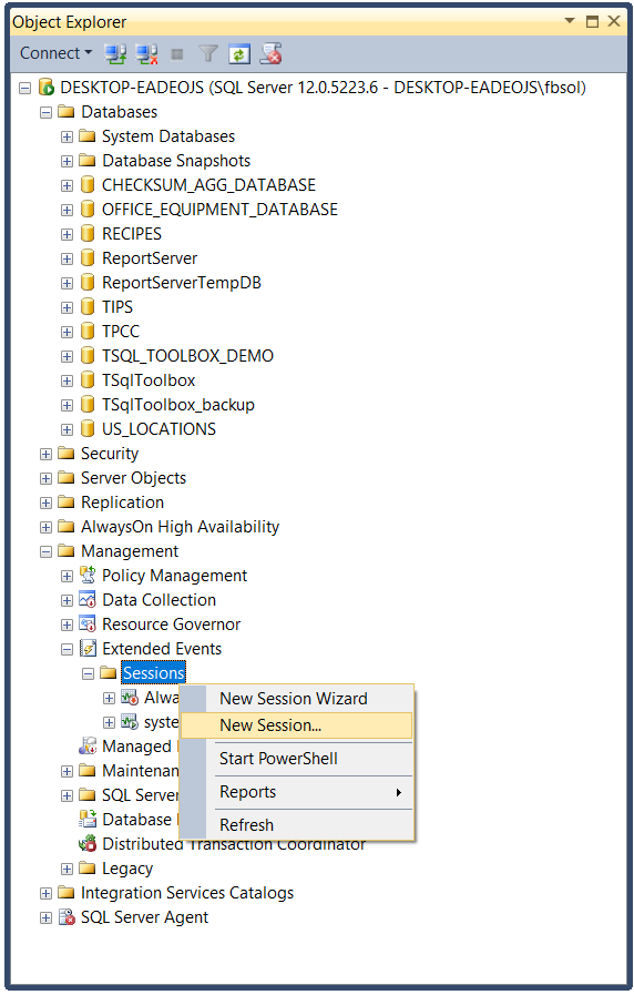 The SQL Server Object Explorer. Drill down to the Sessions option, and open New Session.