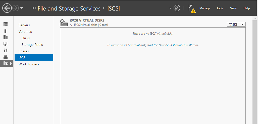 To create an iSCSI virtual disk, start the New iSCSI virtual disk wizard.