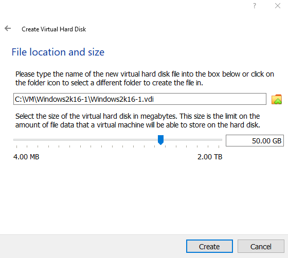 VDI file location and size