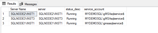 Verify service accounts on all nodes