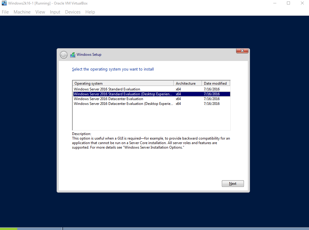 Windows Server 2016 standard evaluation edition (desktop experience)