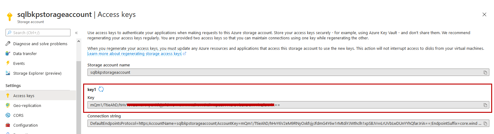 Access keys of the Azure storage account