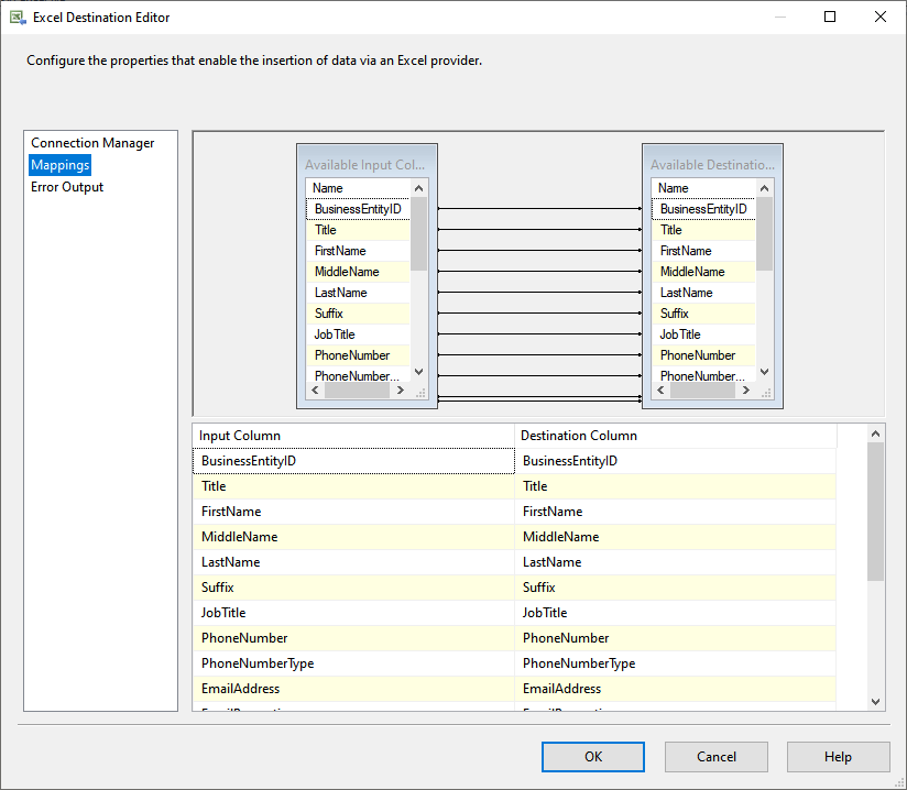 ADO.Net source and excel destination mapping