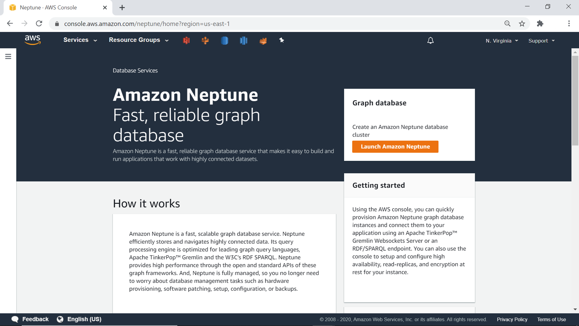 AWS Neptune Home Page