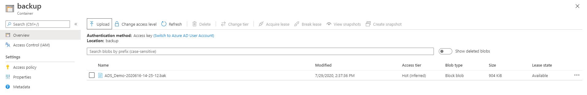 Backup in Azure blob storage