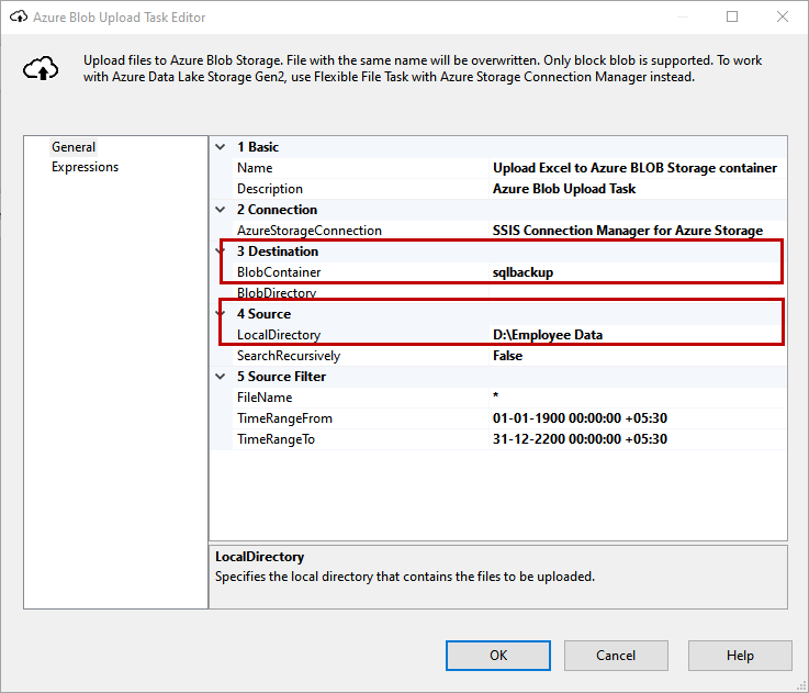 Configure Azure Blob Upload task to upload the file on Azure blob storage