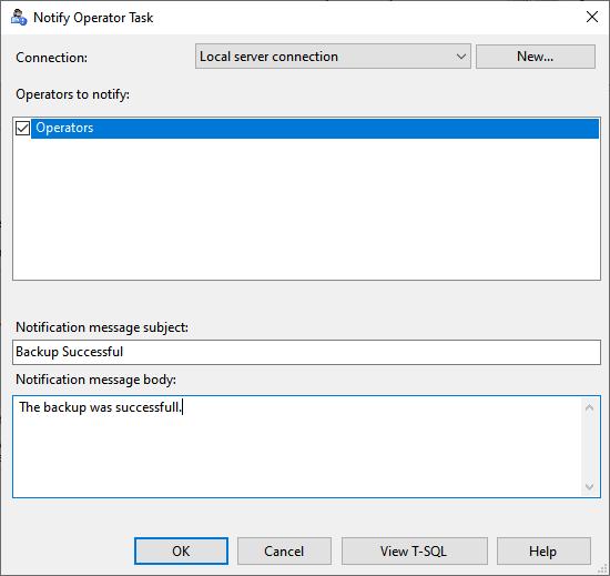 Configure Notify operator task