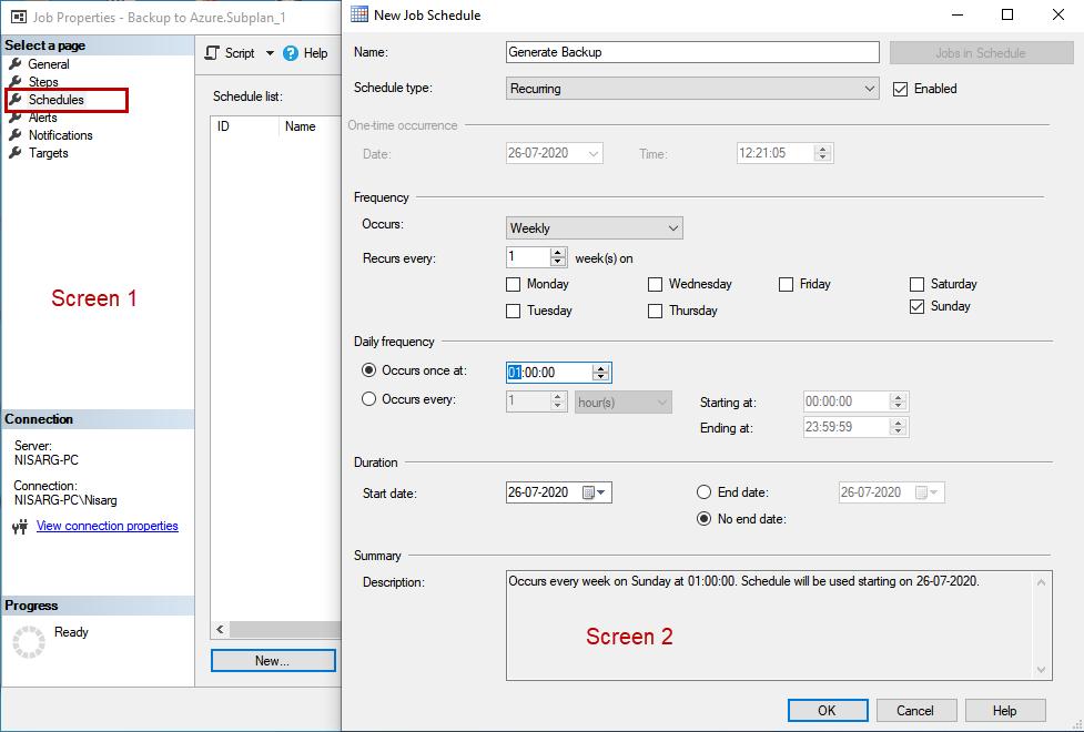 Configure the schedule