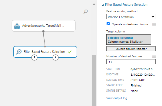Connecting the Filter based feature selection control to the dataset.