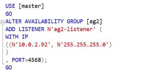 Create a listener for the secondary availability group