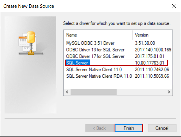 Creating a SQL Server data source