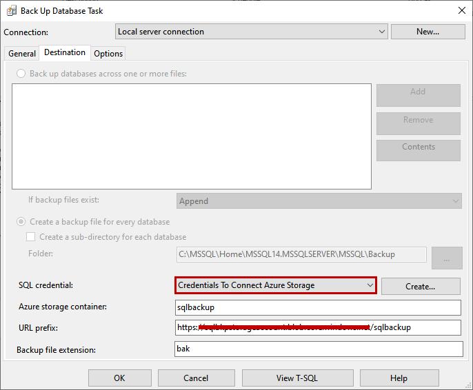 Define Credentials to connect to Azure Storage account