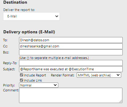 Email settings in Subscriptions in SSRS.