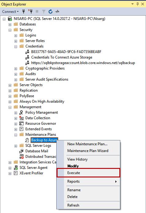 Execute maintenance plan to generate backup of SQL Database