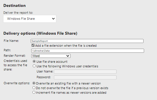 File Share option configurations in SSRS subscriptions.