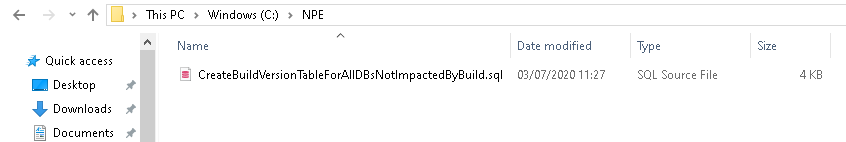 Files after deletion in the NPE folder