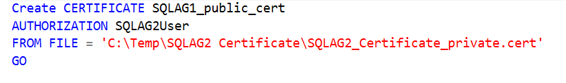 Import the public key portion of the certificate from the SQAG2 node