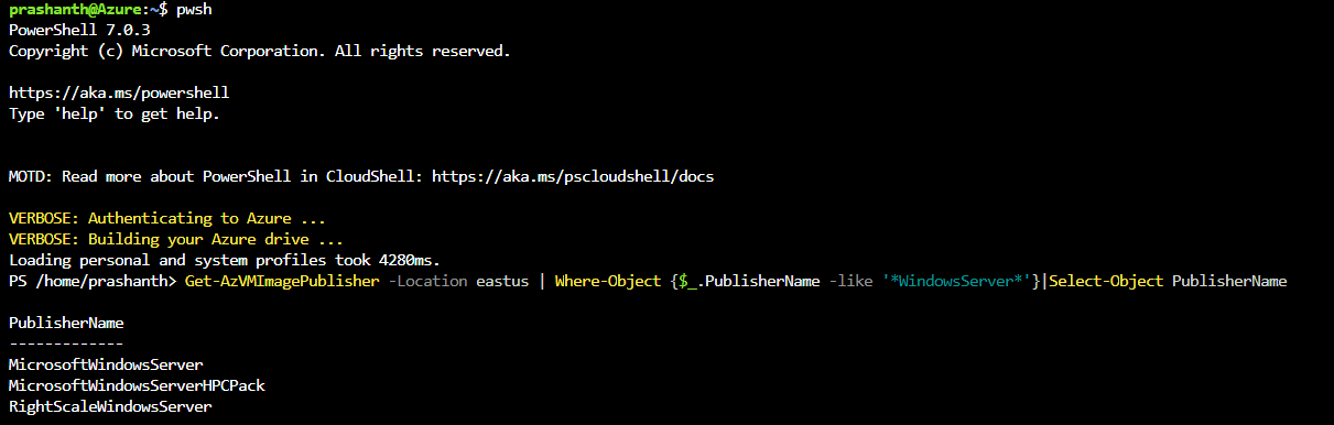 List VM Image publisher using Az CLI commands