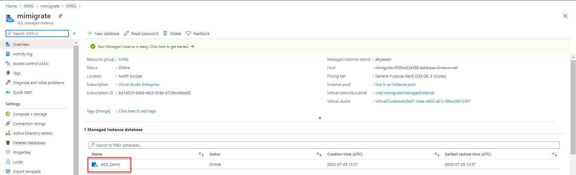 Managed Instance databases