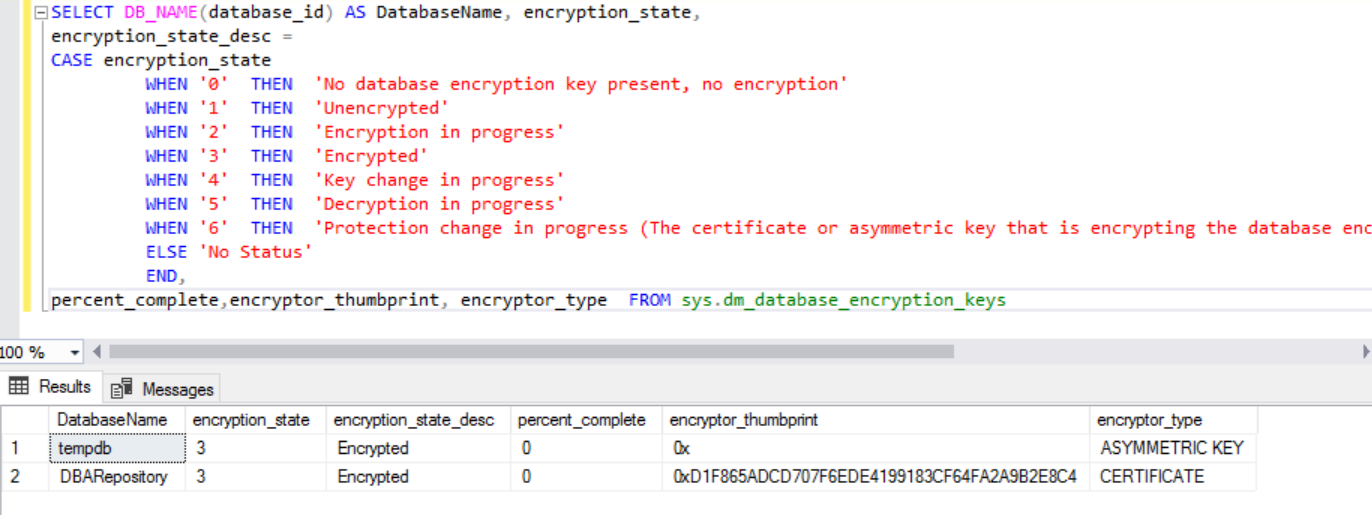 Monitor the transparent data encryption using case statement