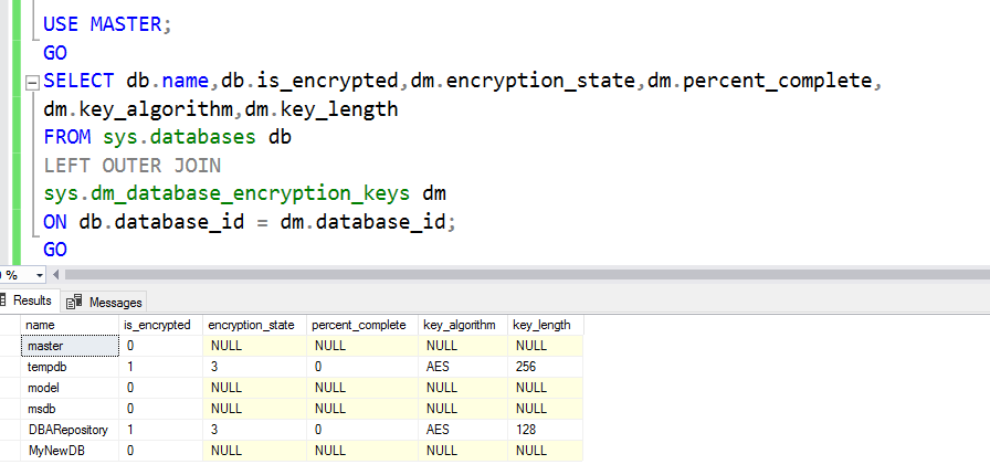 Monitor the transparent data encryption