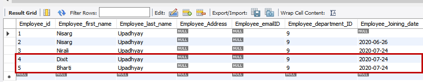 Multiple rows have been inserted using Insert Statement