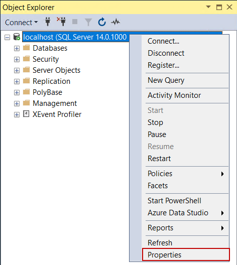 Opening properties tab of the SQL Server database