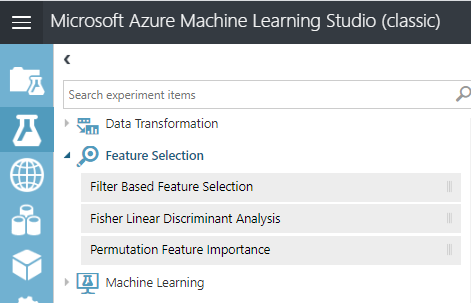 Options of feature selection in Azure Machine