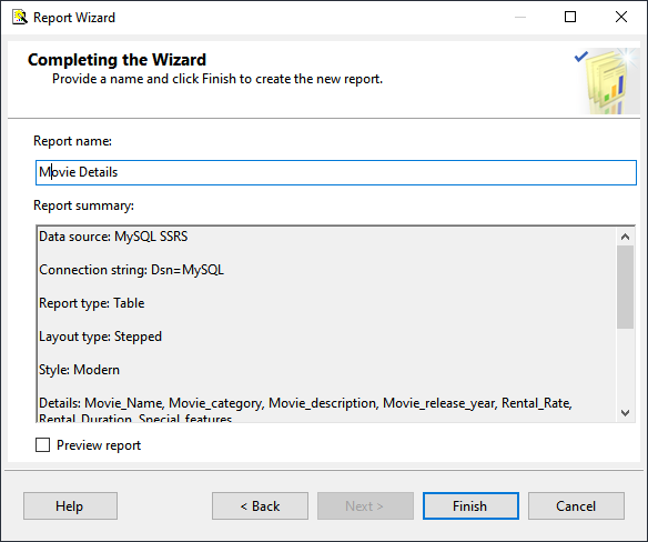 Reporting wizard is completed