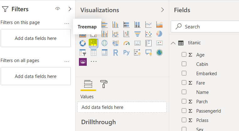 Selecting the treemap visualisation to add on to our report.