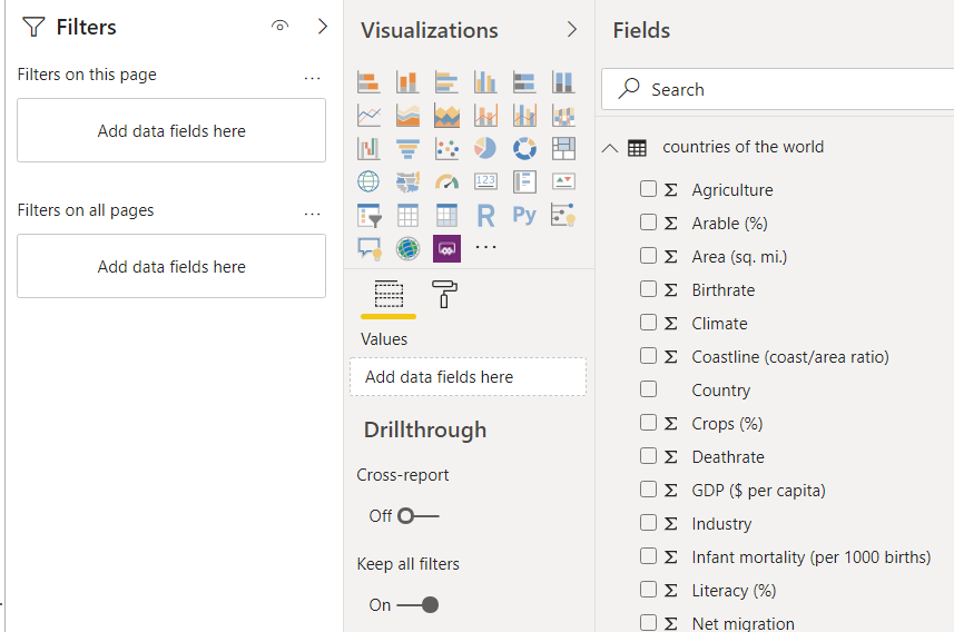 Setting filters on a Treemap visualisation