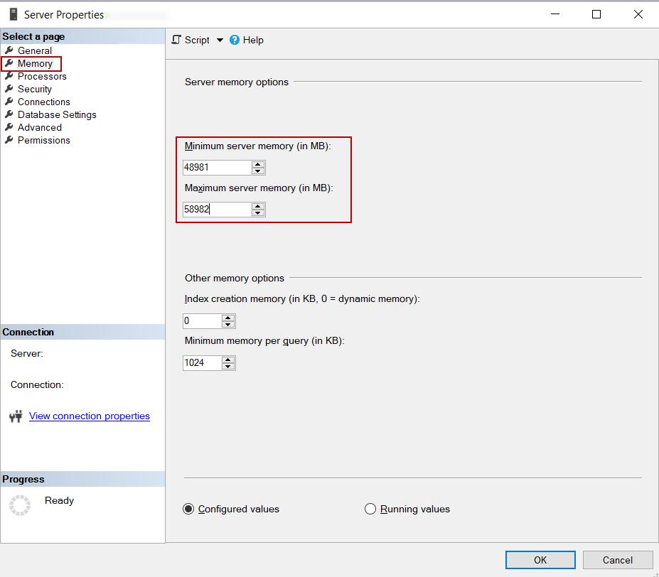 Setting maximum, minimum memory of the SQL Server