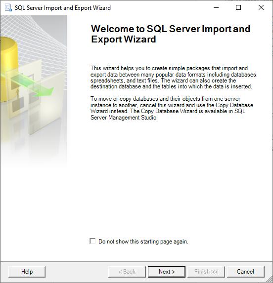Assistente de importação e exportação do SQL Server