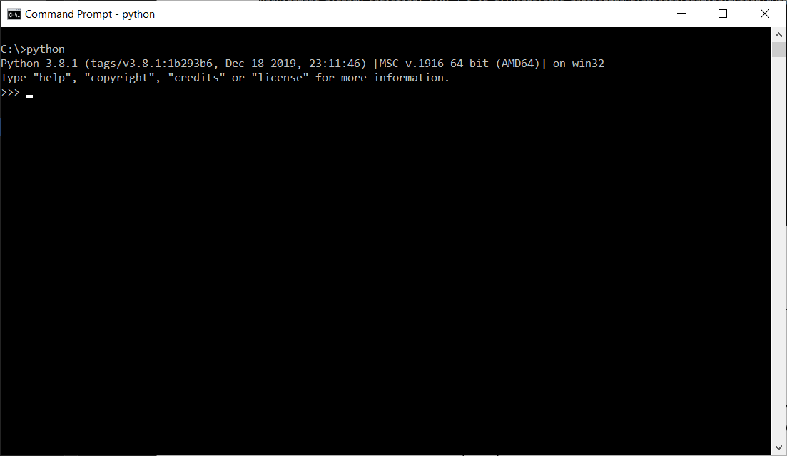 Starting the python execution in command prompt