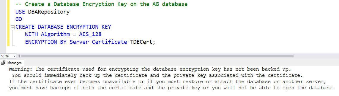 Step 3: Create a database encryption key and use the certificate to protect it