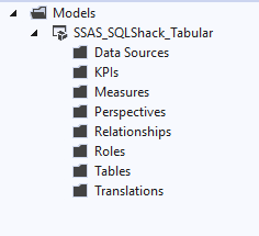Tabular Model Explorer that you will see after the creation of the Tabular Model