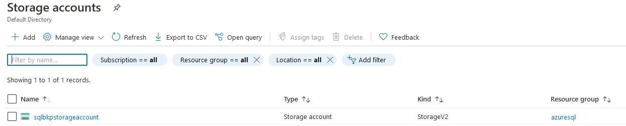 View Azure Storage Account