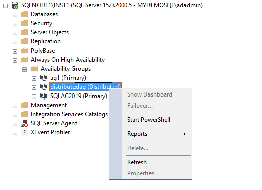 View the AG dashboard for the SQL Server Always On Availability Group